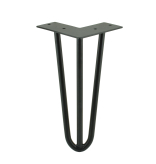 HAIRPIN LEG, H - 450 MM, HEAVY DUTY 12 MM, 3 RODS FOR FURNITURE, STEEL, BLACK COLOUR